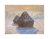 Haystacks: Snow Effect, 1891 Premium Giclee Print by Claude Monet