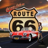 Route 66 Corvette Tin Sign