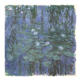 Blue Water Lilies Between, c.1916-1919 Premium Giclee Print by Claude Monet