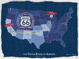 Route 66 Map Giclée-tryk af Tom Frazier