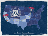 Tom Frazier - Route 66 Map - Giclee Baskı