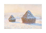 Wheatstacks: Snow Effect, Morning, 1891 Premium Giclee Print by Claude Monet