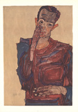Self Portrait with Hand on Cheek Collectable Print by Egon Schiele