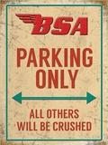 BSA Parking Only Plåtskylt