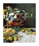 Still Life with Flowers and Fruit, 1869 Premium Giclee Print by Claude Monet