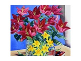 Magenta Lilies and Daffodils Giclee Print by Christopher Ryland