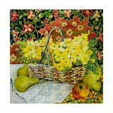 Yellow Primroses in a Basket, with Fruit and Textiles, 2010 Giclee Print by Joan Thewsey