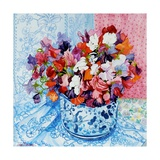 Sweet Peas in a Blue and White Pot, 2010 Giclee Print by Joan Thewsey