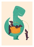 TRex and The Basketful of Wiener Dogs Print by Jay Fleck