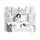 "A woman at a desk with one organizer that says ""Forms I cannot deal with,""... - New Yorker Cartoon Premium Giclee Print by Roz Chast"