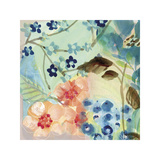 Blue Peach Floral II Giclee Print by Gayle Kabaker