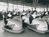 Nuns Driving Bumper Cars, France Alu-Dibond