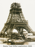 Tour Eiffel September 1888 Yellow Screen Stretched Canvas Print