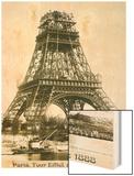 Tour Eiffel September 1888 Yellow Screen Wood Print