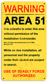 Area 51 Steel Sign Wall Sign