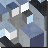 Cubic in Blue II Stretched Canvas Print by Todd Simmions