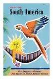 Fly to South America - Pan American - Panagra Giclee-tryk i høj kvalitet af Jean Carlu