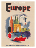 Europe - Fly by Clipper - Pan American World Airways Posters by  Pacifica Island Art