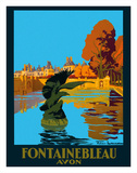 Chateau de Fontainebleau - Avon - France - Paris-Lyon-Mediterranee Railway (PLM), French Railroad Giclée-tryk af Julien Lacaze