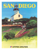 San Diego, California - Old Point Loma Lighthouse Giclée-tryk af Tom Hoyne