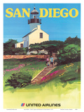 San Diego, California - Old Point Loma Lighthouse Print by Tom Hoyne