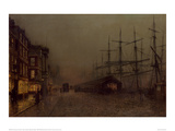 Shops and Ships, Clydeside, Glasgow Giclee Print by John Atkinson Grimshaw