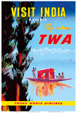 Visit India - Kashmir - Fly TWA Posters af Pacifica Island Art