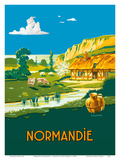 Normandie (Normandy) France - L'ete . . . L'état (Summer is here) - French State Railways Print by Lucien Baubaut