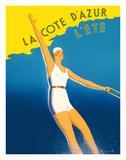 La Cote d'Azur - L'ete (Summer) - Paris-Lyon-Mediterranee Railway (PLM), French Railroad Giclée-tryk af Sainte