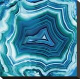 Agate in Aqua Stretched Canvas Print by Danielle Carson
