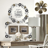 Floral Wreath Quote w/Embellishments Peel and Stick Giant Wall Decals Wall Decal