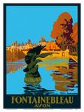 Chateau de Fontainebleau - Avon - France - Paris-Lyon-Mediterranee Railway (PLM), French Railroad Posters par Julien Lacaze