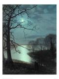 Watching a Moonlit Lake Lámina giclée por John Atkinson Grimshaw