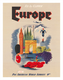 Europe - Fly by Clipper - Pan American World Airways Giclée-tryk af Pacifica Island Art