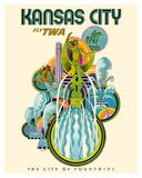 Kansas City - Fly TWA (Trans World Airlines) - The City of Fountains Reproduction procédé giclée par David Klein