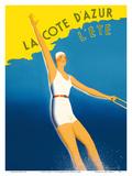 La Cote d'Azur - L'ete (Summer) - Paris-Lyon-Mediterranee Railway (PLM), French Railroad Plakater af  Sainte