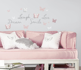 Butterfly Dream Peel and Stick Wall Decals with 3D Cutout Butterflies Wall Decal