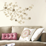 Floral Blossom Peel and Stick Giant Wall Decals with 3D Flower Embellishments Wall Decal