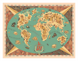 Map of World - TAI Airline (Transports Aeriens Intercontinenteaux) Giclée-tryk af F. Lesourt