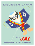 Discover Japan - Fly Japan Air Lines (JAL) - Japanese Samurai Kite Posters af  Pacifica Island Art