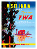 Visit India - Kashmir - Fly TWA Prints by  Pacifica Island Art
