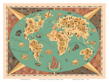 Map of World - TAI Airline (Transports Aeriens Intercontinenteaux) Print by F. Lesourt