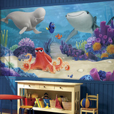 Finding Dory XL Chair Rail Prepasted Mural Wallpaper Mural