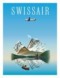 Switzerland - Swissair - Douglas DC-4 Airliner Giclée-tryk af Herbert Leupin