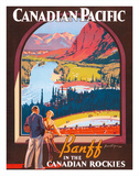Banff in the Canadian Rockies - Lake Louise, Banff National Park - Canadian Pacific Railway Company Giclée-tryk af James Crockart