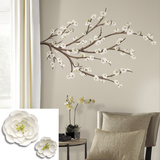 White Blossom Branch Peel and Stick Giant Wall Decals with Flower Embellishments Wall Decal