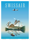 Switzerland - Swissair - Douglas DC-4 Airliner Print by Herbert Leupin