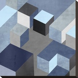 Cubic in Blue I Stretched Canvas Print by Todd Simmions