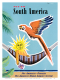 Fly to South America - Pan American - Panagra Art by Jean Carlu