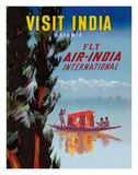 Visit India - Kashmir - Fly Air India International Giclée-tryk af Pacifica Island Art